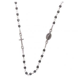 Rosario girocollo argento e cilindro ematite | vendita online su HOLYART
