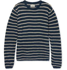 Oliver Spencer Seymour Slim-Fit Striped Linen and Cotton-Blend Sweater