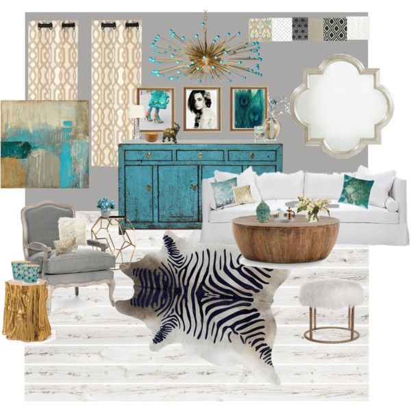 Gold, Gray and Turquoise Living Room - Polyvore | living ...