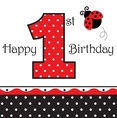 Black and red Lady Bug Fancy First Birthday Lunch Napkins