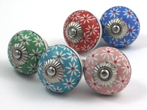 Pretty BLUE Flowery CERAMIC Door Knob / Drawer Pull From INDIA. SET Of 4.