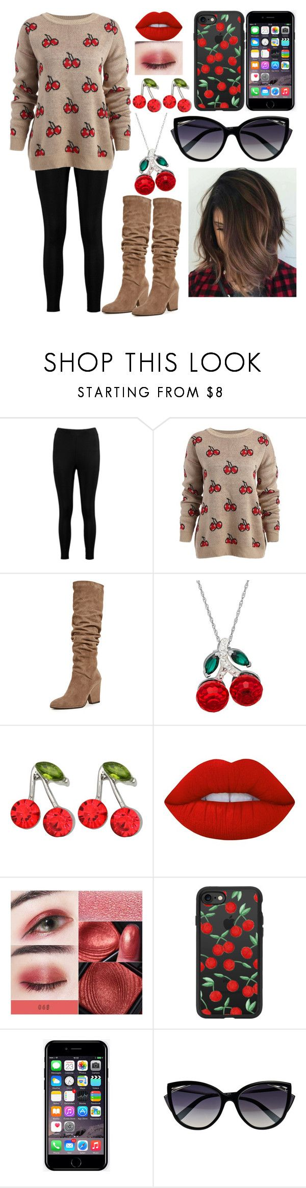 """""""She's my Cherry Pie!"""" by kiara-fleming ❤ liked on Polyvore featuring Boohoo, Stuart Weitzman, Kate Marie, Lime Crime, Casetify, Off-White and La Perla"""