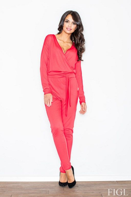 Red jumpsuit Women's brave neckline