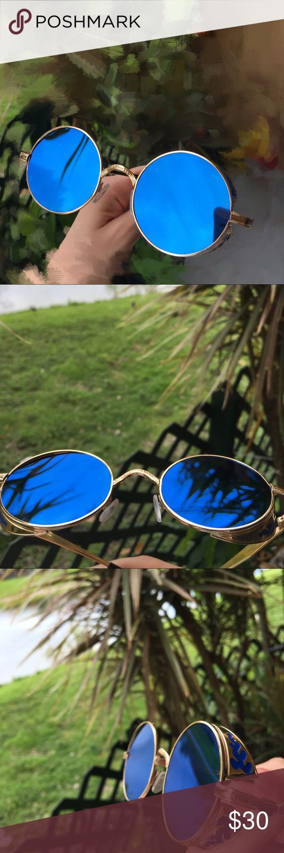 Beautiful mirror blue round sunglasses #Sunnies Mirror blue sunglasses. Please let me know if any questions Accessories Sunglasses
