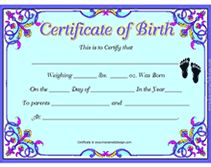 Free Birth Certificates  Birth Certificate Template