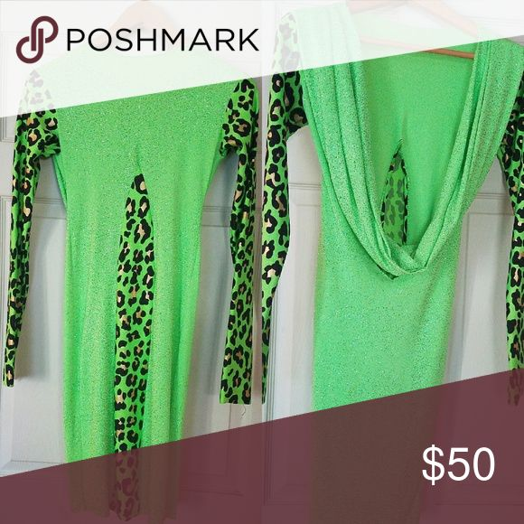 Neon green dress cocktail party dress Neon green dress with open back and hoodie Boutique Dresses Mini
