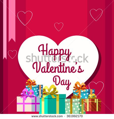 Valentines day illustrations and gift box - stock vector