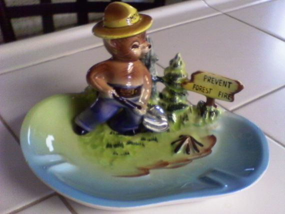 Really can't justify $85, but it's pretty cool. Rare Rare Rare 1950s Smokey The Bear Ashtray by ThePassingOfTime, $85.00