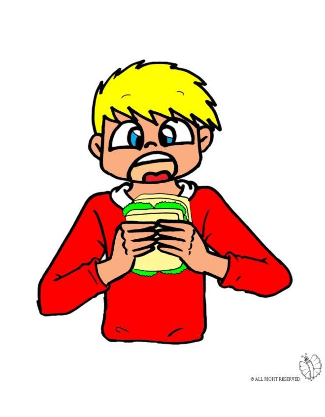 Disegno: Bambino che Mangia. Disegni colorati per bambini da stampare gratis. Puoi stampare, scaricare il disegno o guardare gli altri disegni simili a questo. disegnidacolorareonline.com.
