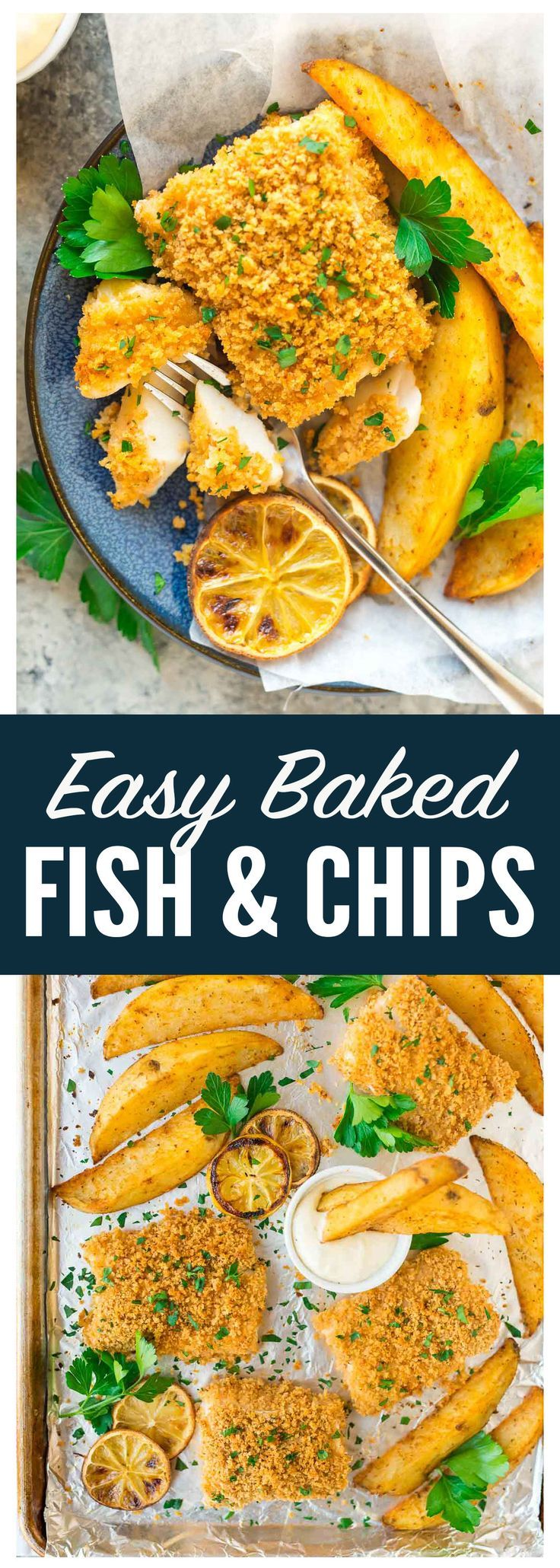 Easy Oven Baked Fish and Chips — A quick and healthy version of classic fish and chips that's baked in ONE pan. Extra crispy Panko on the outside and tender and flaky on the inside. The oven fries are PERFECTLY golden and crisp. Serve with tartar sauce for dipping. Recipe at wellplated.com | @wellplated @mccormickspice #sponsored