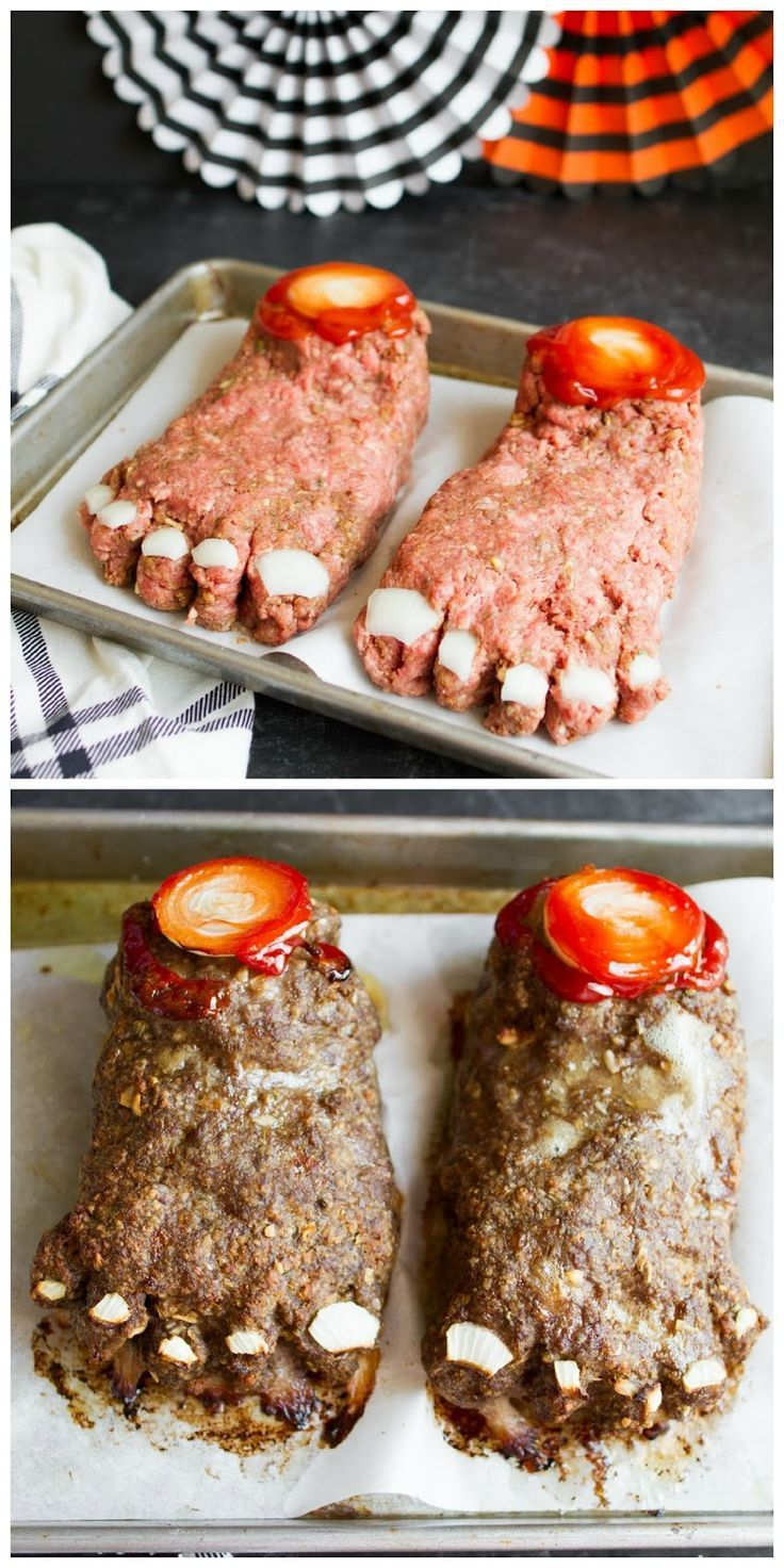 This is such a totally gross and completely cool way to serve meat loaf at Halloween...FEET LOAF!!!  LOL!  Perfect for any dinner or party!  And the recipe couldn't be any easier.  |  My Name Is Snickerdoodle
