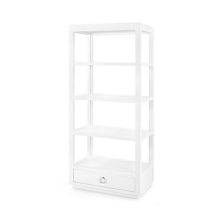 The Bungalow 5 Camilla collection is a tall, slim, and ultra simple line with elegant proportions. The height of this etagere is complimented by a streamlined design, and features both open and closed storage. This simple and chic side table measures 32