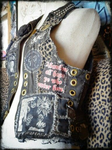 Womens crust punk vest