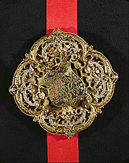 RENAISSANCE INSIGNIA 16TH  Breast-plate of the Towncrier of 's-Hertogenbosch Silver, partly gold-plated, enamel (around 1504) B 7102  Noordbrabants Museum, 's-Hertogenbosch, Netherlands