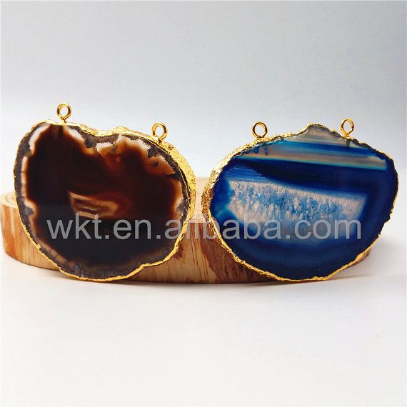 WT-P941  Thanksgiving Sale Natural Agate Slice Druzy Pendant