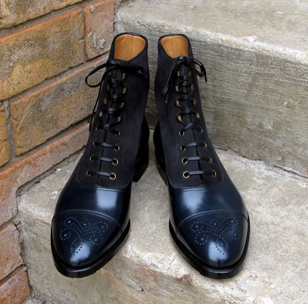 Handmade Navy Black Two Tone Ankle Boots Suede & Leather Boots For Men's Shoes #Handmade #Chelsea