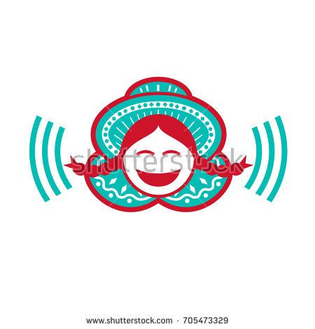 Retro icon style illustration of a south american Peruvian Girl wearing hat smiling with Voice symbol on isolated background.  #peruviangirl #icon #illustration