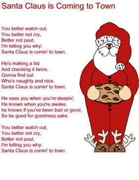 Santa Claus Is Coming To Town Lyrics Christmas Gifts
