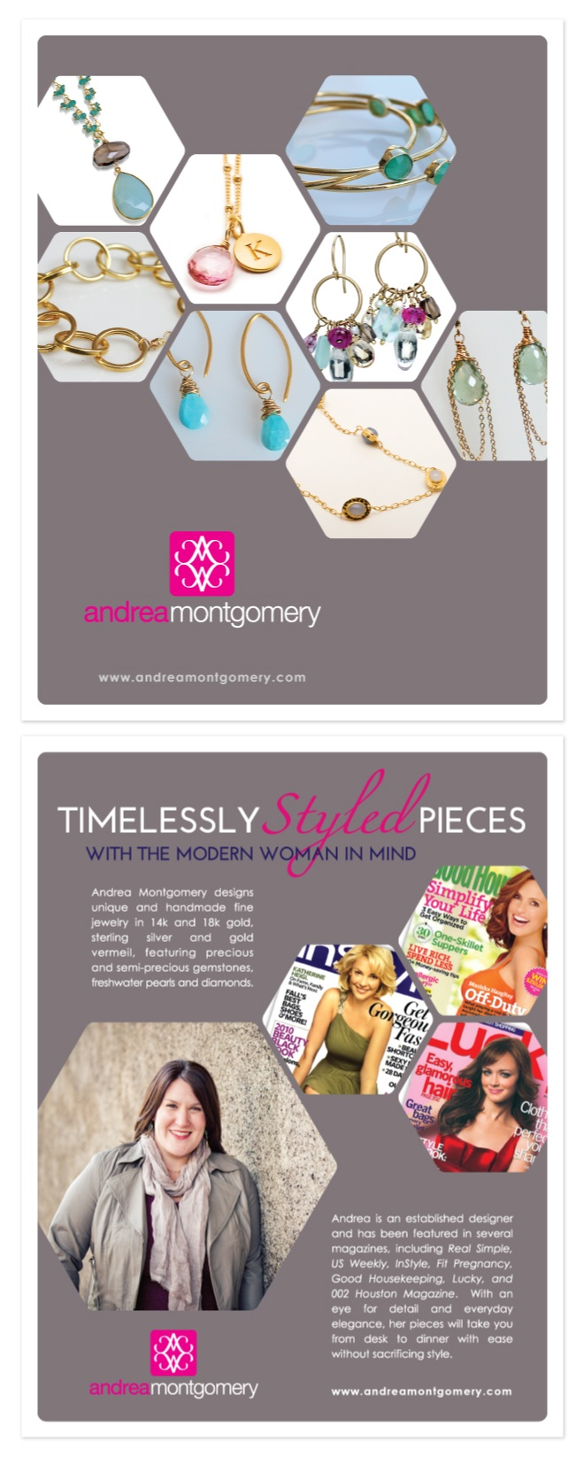 Brochure design for a very talented jewelry designer in San Francisco. Andrea Montgomery! Check out more of her designs at www.andreamontgomery.com Design by DesAutels Designs.