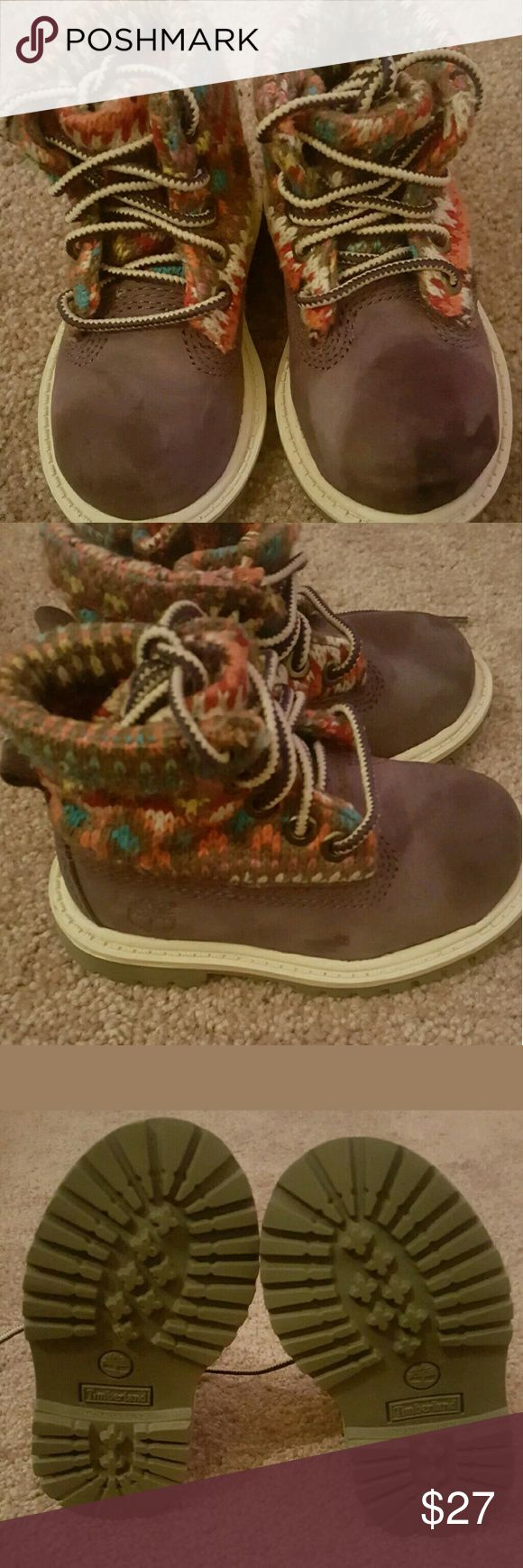Timberland boots toddler girl Pre owned Flip down high top purple timberland boots for a toddler girl. Overall the condition is okay only worn a few times. On the left boot there is a dark purple mark and a small mark on the left side as well. Will require suede cleaner to remove stains. Size 5c, this boot does have shoe laces. Sold as is, no box included. Timberland Shoes Boots