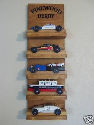 Pinewood Derby Car Display Hand Crafted Shelf