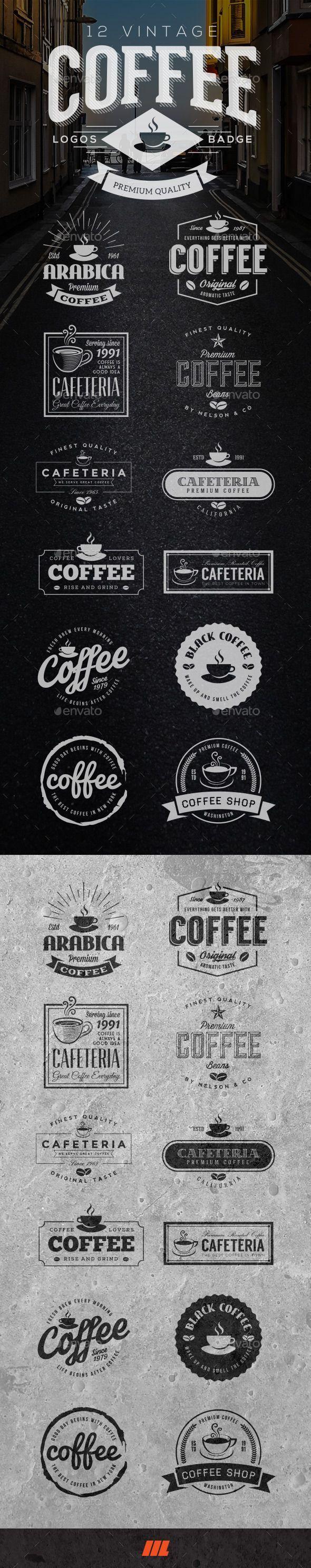 12 Retro Vintage Coffee Logo - Badges & Stickers Web Elements