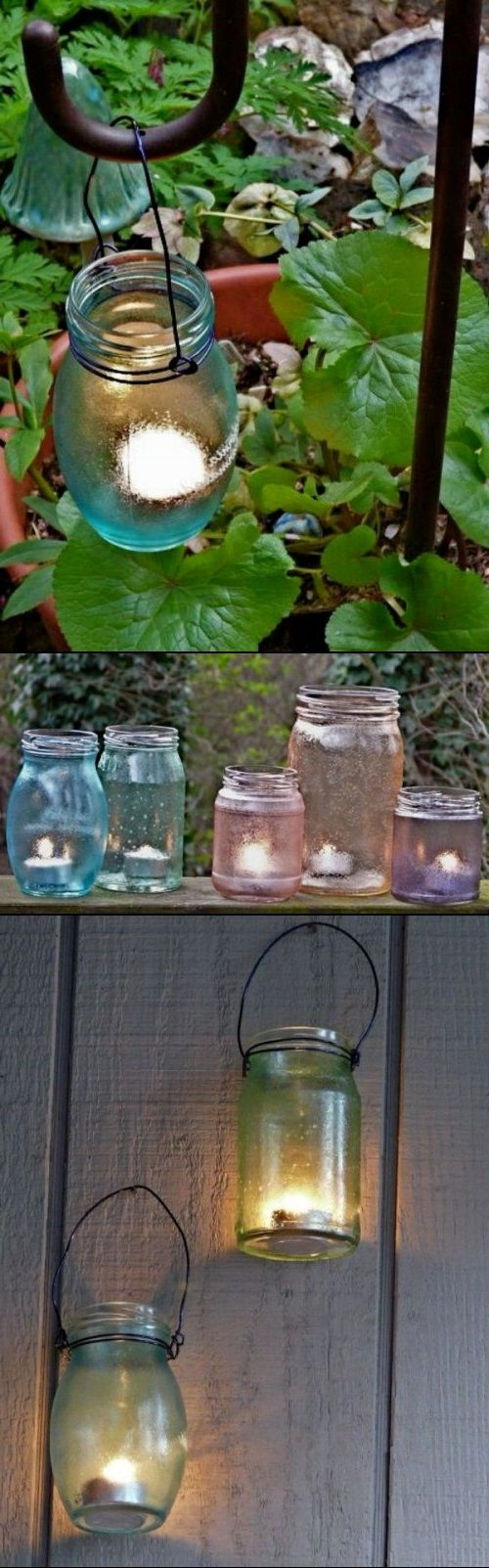DIY Garden Candle Holders Of Jars.  I recently saw this done with the battery candles and it looked really cute and safe around children.
