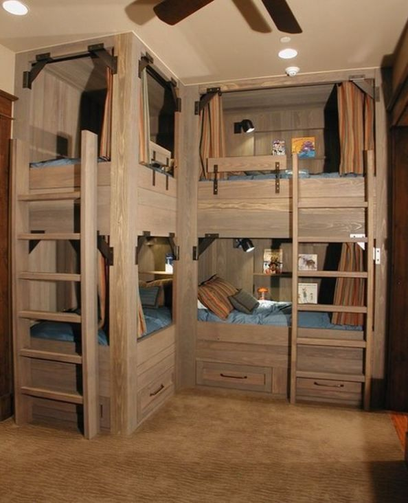 4 Bed Bunk Bed 6 Bunk Beds For Four Wonderful Space Saving Additions To The Kids Rooms Bunk Beds Built In Bunk Beds Corner Bunk Beds