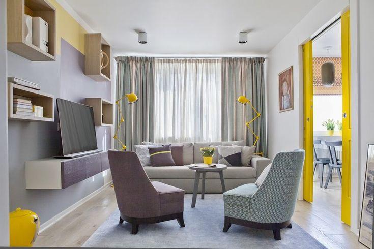 Tavaszi napfényes hangulat élénksárga kiegészítőkkel konyhával - 73m2-es lakás kellemes színekkel