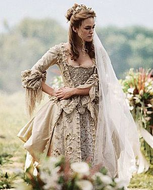 "Elizabeth Swann's wedding dress from ""Pirates of the Caribbean: Dead Man's Chest"" (2006)  *ELIZABETH SWANN ~ Pirates of the Caribbean....the wedding dress."