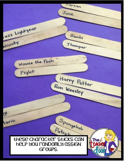 Fun Ways to Create Random Groups in the Classroom: Use popsicle sticks with character friends from books or movies to match partners/small groups.