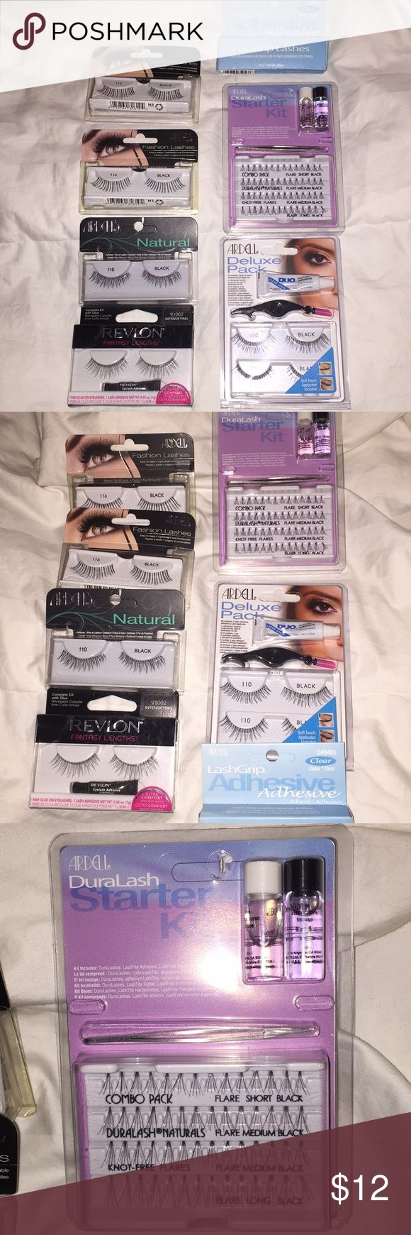 Fashion Lashes and Starter Eyelash Kits I give up on False Eyelashes so all this can be yours for cheap! In all you get 6 pair of lashes, adhesive, lash applicator, and a starter kit with individual lashes. In this bunch 7 items Ardell & Revlon Makeup False Eyelashes