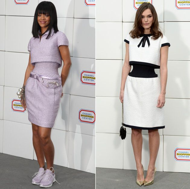 Rihanna and Keira Knightley show off their optical illusion dresses. Credit: Getty Images-GAH….LOVE these!!!!