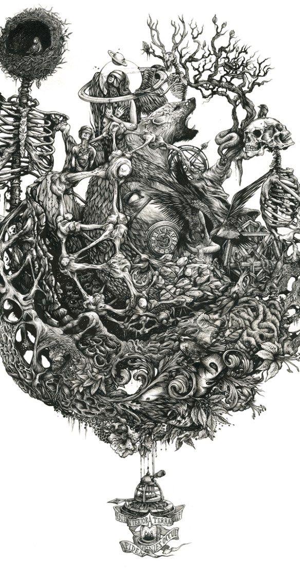 Ink art by DZO, Image via http://hifructose.com/