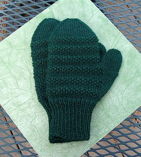 Seed Stitch Striped Mittens for Men - by Linda Jo Park These textural striped mittens are knit with 3.5oz/100gms of worsted weight yarn on two size 5 circular needles. They are sized to fit larger hands, ie. men, and feature a ribbed cuff and knit-in thumb gusset for comfort and good fit.