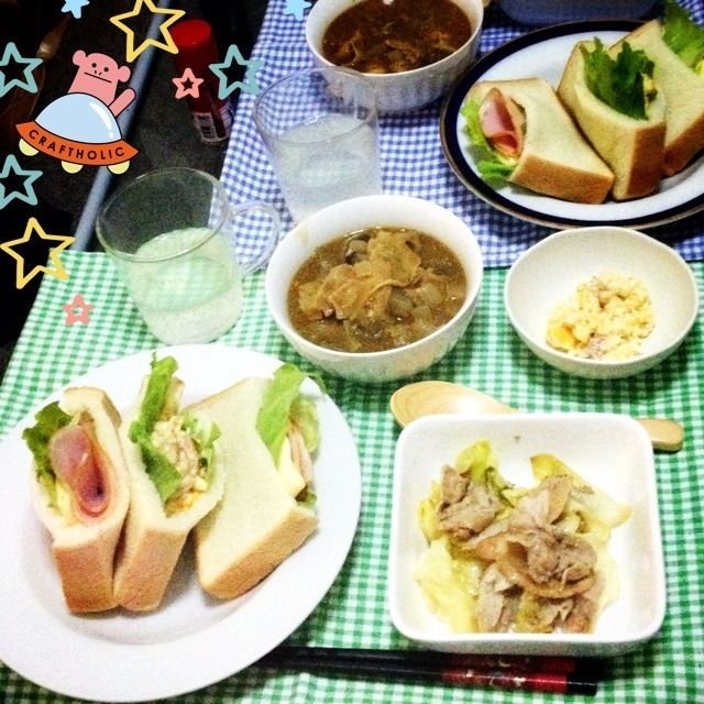 昨日の晩御飯*\(^o^)/* 5枚切食パンは想像以上のボリュームでした(°_°) - 10件のもぐもぐ - サンドイッチ(ハムチーズ・えびたま)★豚キャベツ炒め★豚汁リメイクのカレースープ by ちゃむ