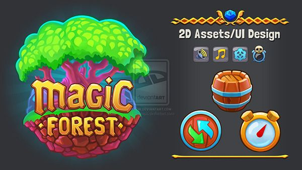 Magic Forest: UI & 2D assets on Behance