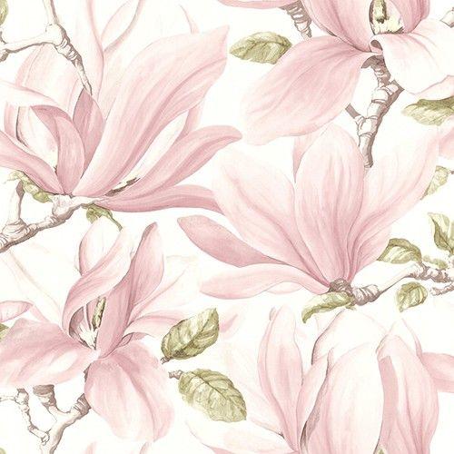 blomstret tapet magnolie rosa