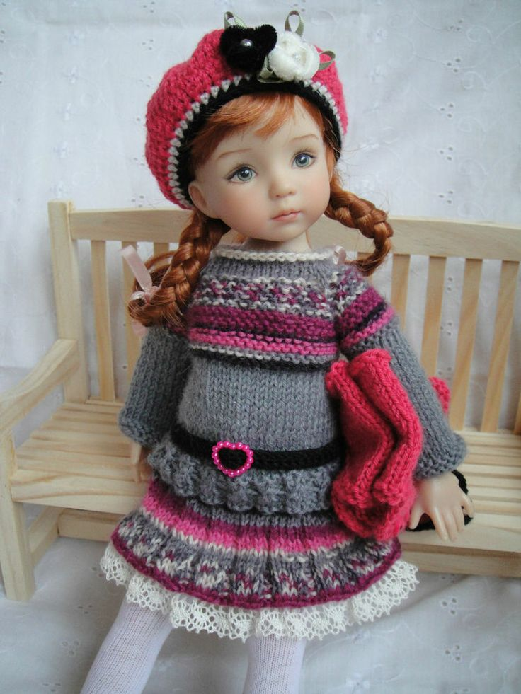 Handknitted OUTFIT for LITTLE DARLING doll - 13 inches (Dianna Effner) - New