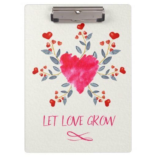 Let Love Grow Romantic Watercolor Heart Clipboard #zazzle #zazzlingfriends
