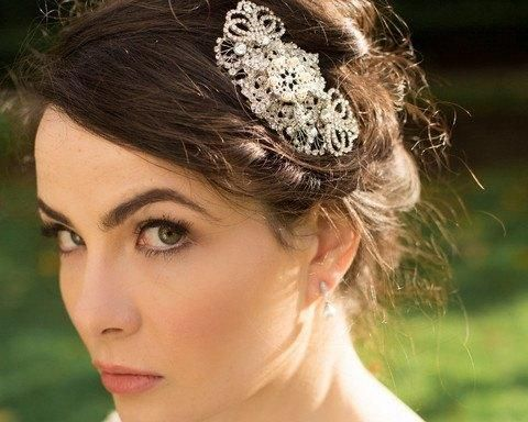 Filigree Art Deco Style Wedding Comb, Marquis