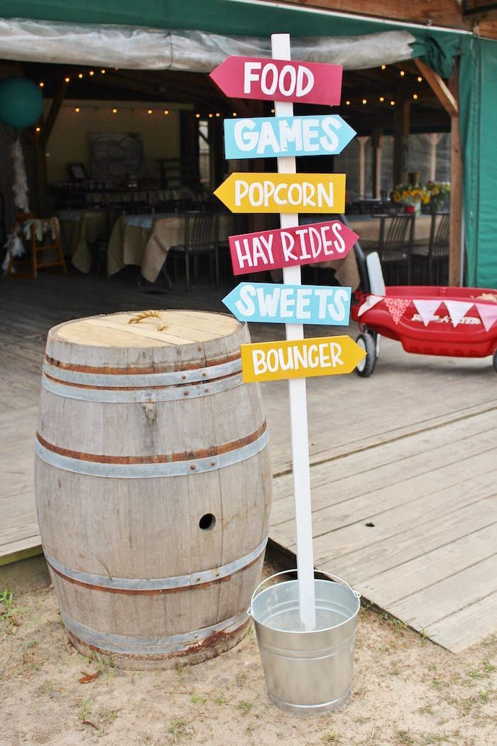 Directional Sign + Decor from a County Fair Themed Birthday Party via Kara's Party Ideas | The Place for All Things Party! KarasPartyIdeas.com (4)