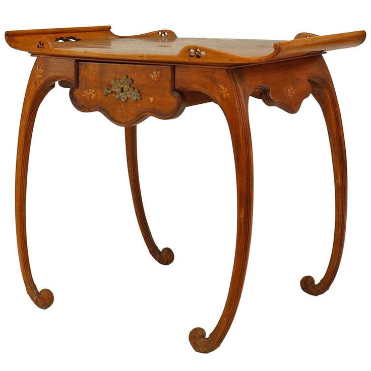 French Art Nouveau Walnut Serving Table by Emile Galle | From a unique collection of antique and modern serving tables at https://www.1stdibs.com/furniture/tables/serving-tables/
