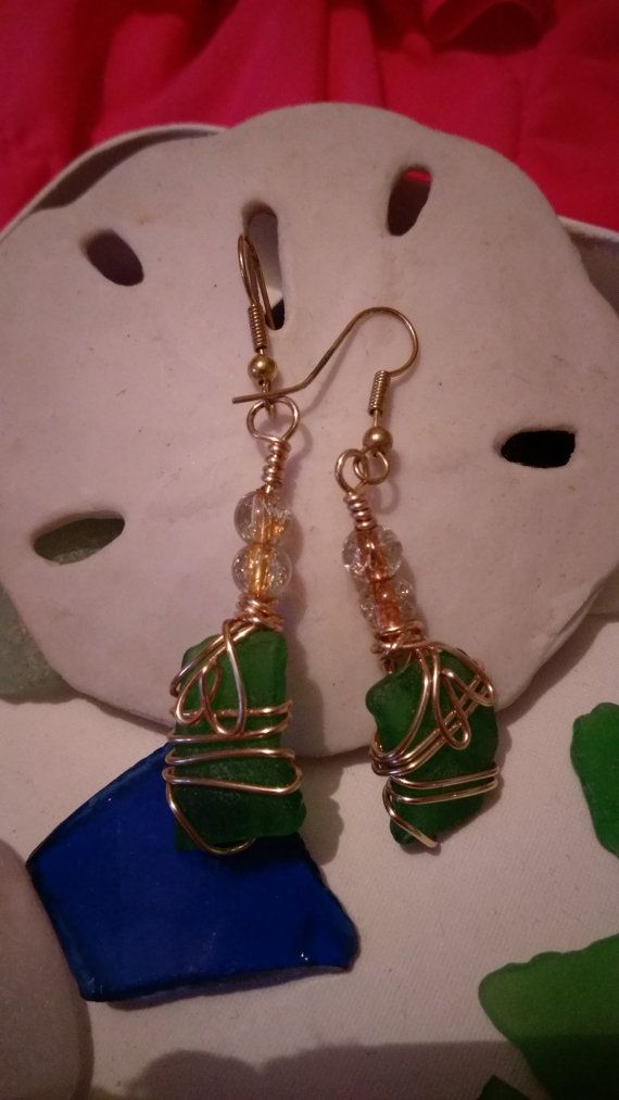 Gold with one of a kind green seaglass by DelicateFlowerJewels