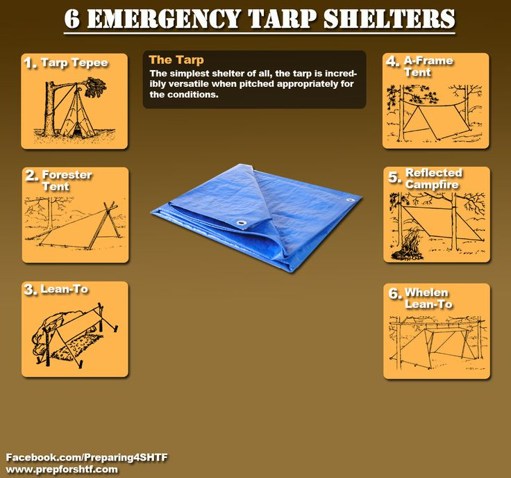 Somehow, I felt like I needed to pin this. I guess it's always good to be prepared, right? Now I know how to build a shelter with just a tarp. Yay! Six Emergency Tarp Shelters Infographic