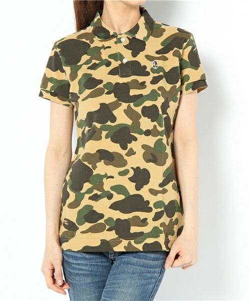 A BATHING APE LADIES'(ベイシングエイプレディス)の1ST CAMO POLO(ポロシャツ)|イエロー