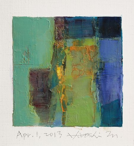 'Apr. 1, 2013' (2013) from the '9x9 painting' series by Japanese abstract painter Hiroshi Matsumoto (b.1953). Oil on canvas, 9 x 9 cm. via the artist on flickr