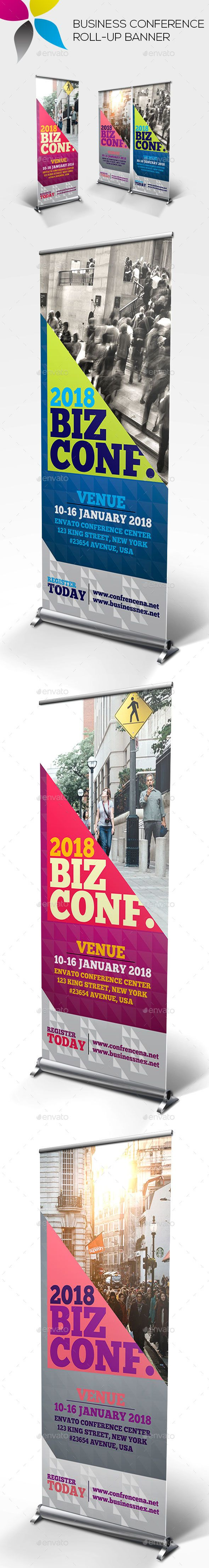 Business Conference Roll-up Banner Design Template - Signage Ads Banner Print Te...