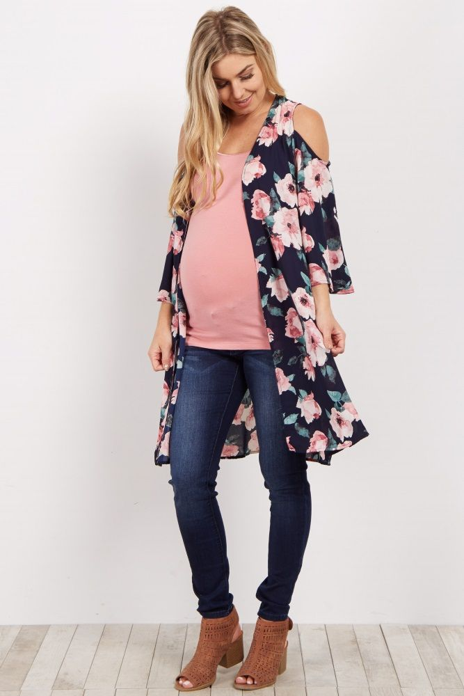 Step out in style this season with this floral chiffon maternity kimono. Easy to style, this trendy cold shoulder kimono will keep your outfits chic. With its bell sleeves and lightweight material, it will pair perfectly with a cami, maternity jeans, and sandals for a casual chic look.