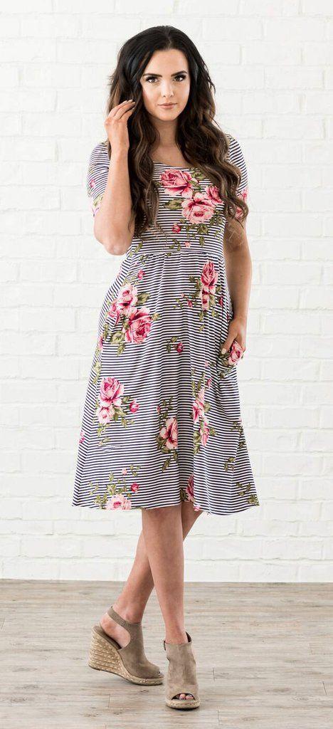 99fb4decac1e Natalie Dress (Floral Stripe) - A cute pattern mixing modest knee length  dress from www.ModestPop.com